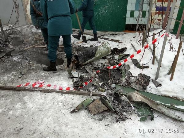 Хвостовая часть ракеты от ЗРК БУК упала поздно вечером 31 января 2017 года. в Макеевке, на Гвардейке
